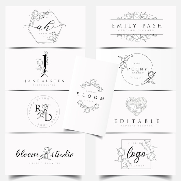 Disegni di logo botanici femminili Vettore Premium