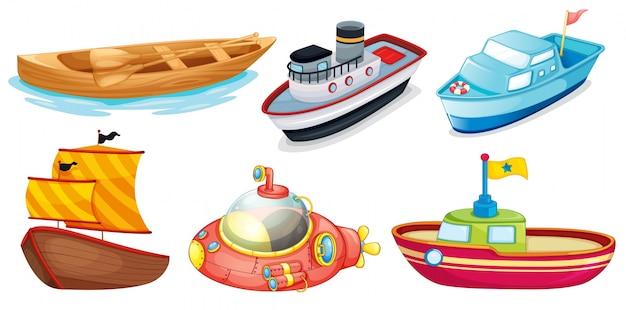 Disegni differenti della barca Vettore Premium
