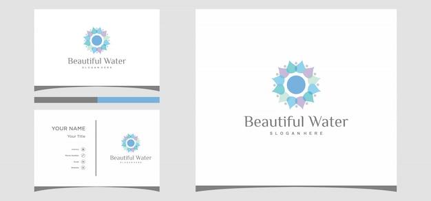 Disegni logo bella acqua con modello di carta Vettore Premium