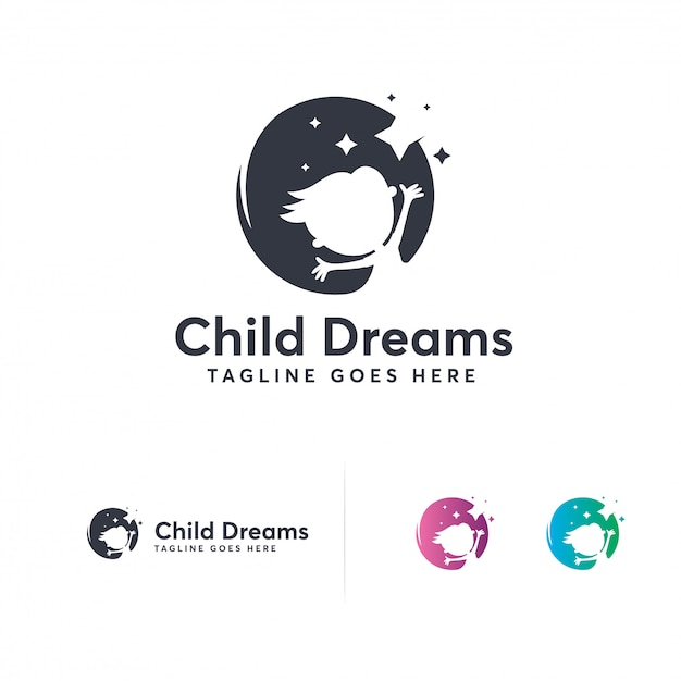 Disegni logo di sogni di bambini Vettore Premium
