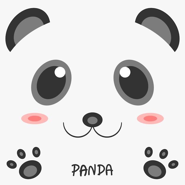 Disegno 2d dell'immagine del panda animale del disegno astratto. Vettore Premium