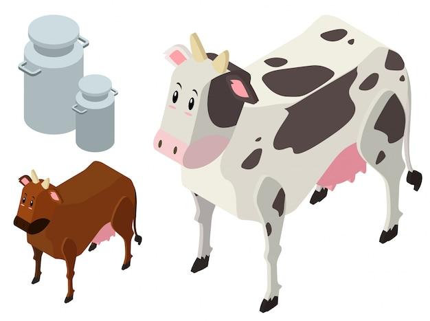 Disegno 3d per le mucche e i serbatoi di latte scaricare for Disegno 3d gratis