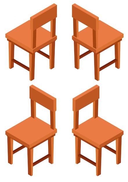 Disegno 3d per sedie in legno Vettore gratuito