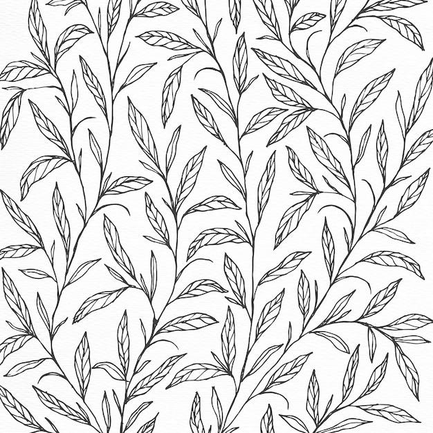 Disegno a forma di sfondo con illustrazione botanica disegnata a mano Vettore gratuito