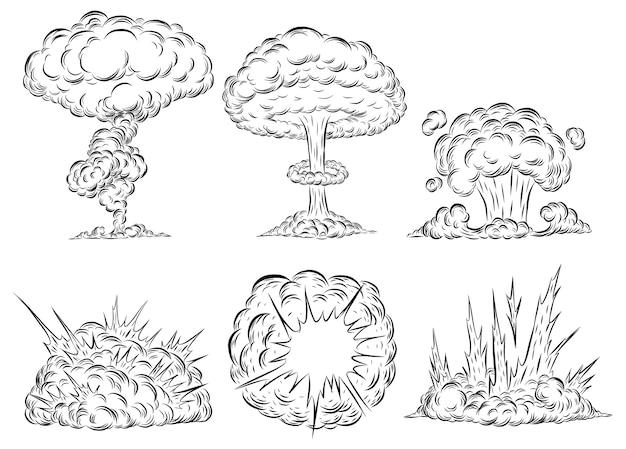 disegno a mano del fungo atomico di esplosione della bomba