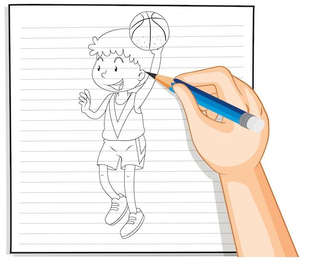 Disegno a mano del giocatore di basket Vettore gratuito