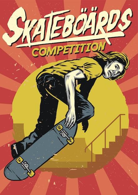 Disegno a mano di skateboard poster design Vettore Premium