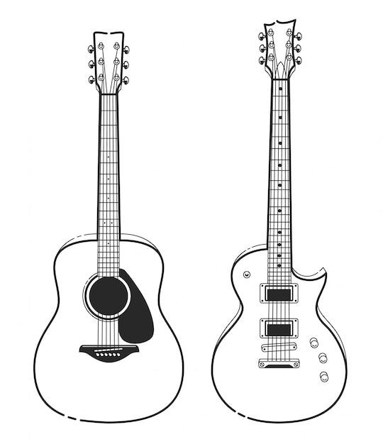 Disegno a mano disegnato chitarra Vettore gratuito