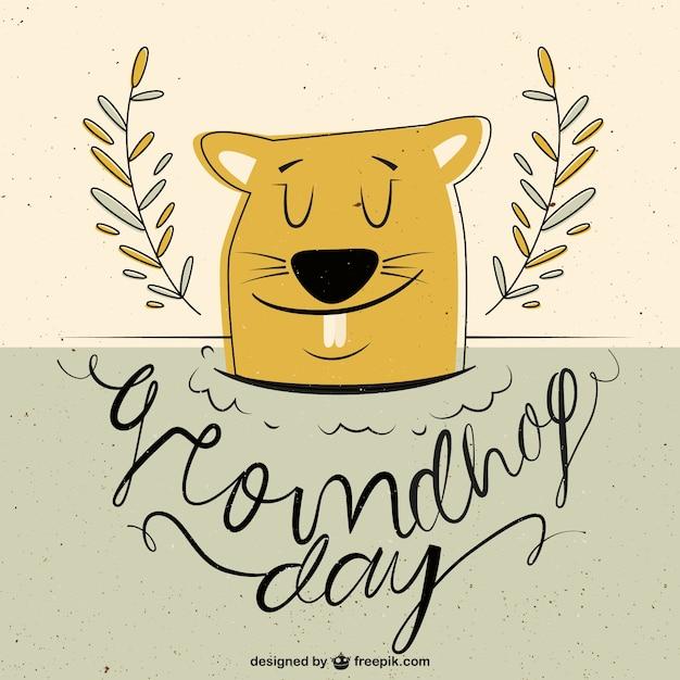 Disegno a mano groundhog day in stile vintage Vettore gratuito