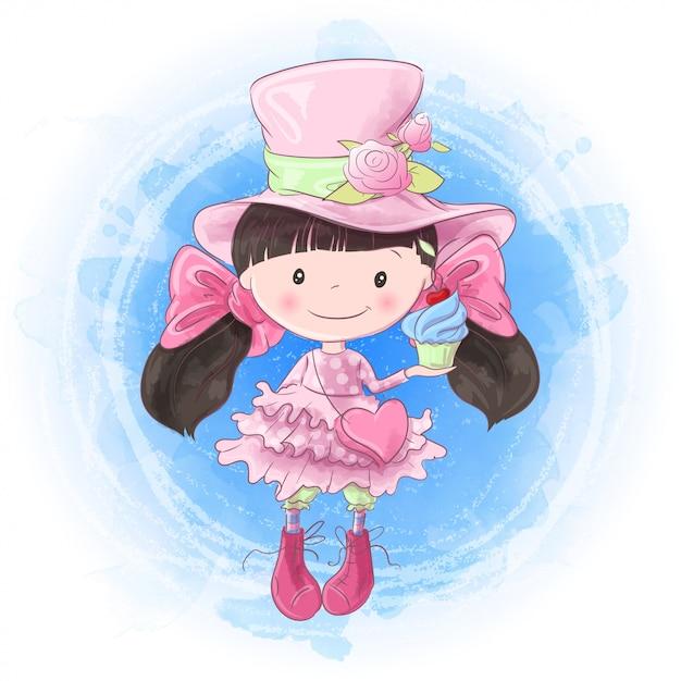 Disegno a mano ragazza simpatico cartone animato. illustrazione vettoriale Vettore Premium
