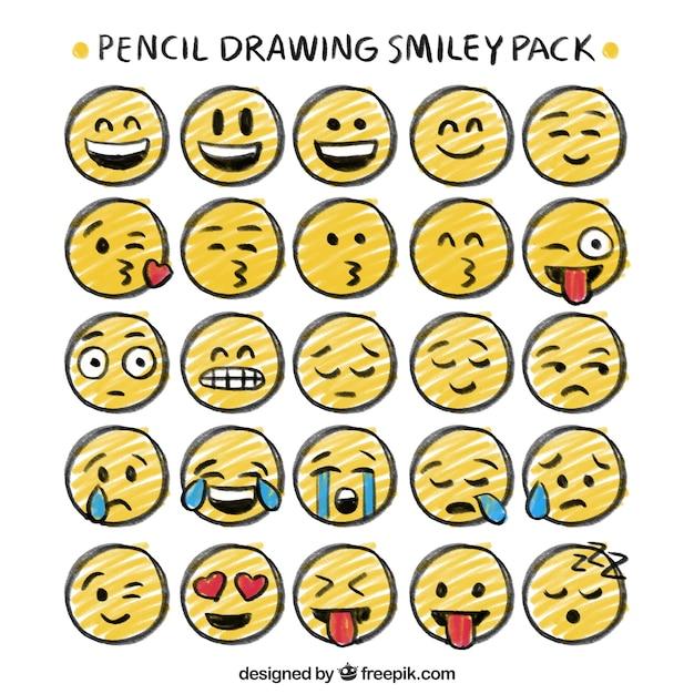 Disegno a matita pacchetto di smiley Vettore gratuito