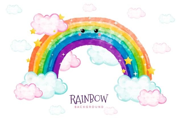 Disegno arcobaleno ad acquerello Vettore gratuito