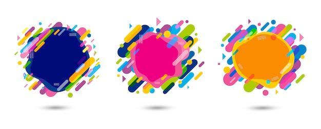 Disegno astratto colorato banner su sfondo bianco Vettore Premium