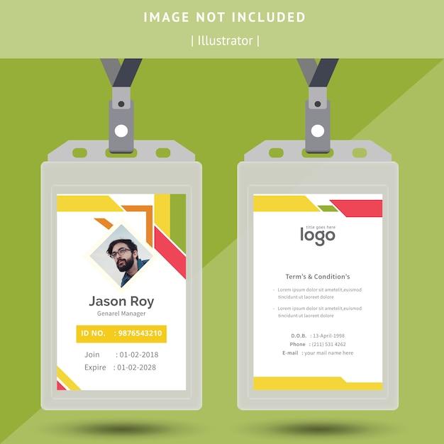 Disegno astratto colorato carta d'identità Vettore Premium
