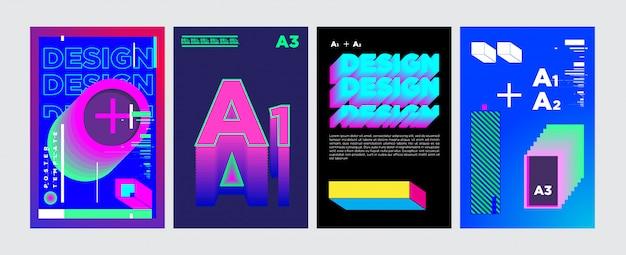 Disegno astratto del manifesto del collage geometrico nei colori vivi Vettore Premium
