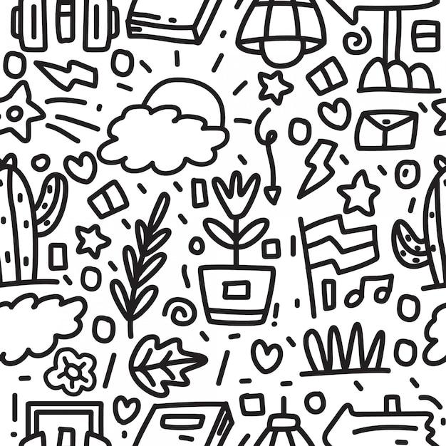 Disegno astratto del reticolo di doodle del fumetto Vettore Premium