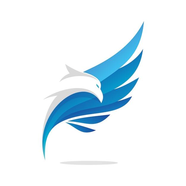 Disegno astratto di logo di aquila volante Vettore Premium