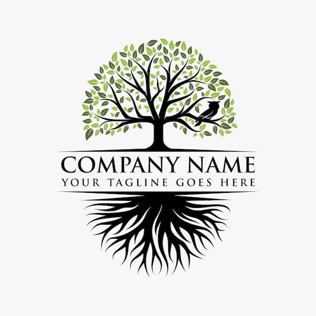 Disegno astratto logo vibrante albero Vettore Premium