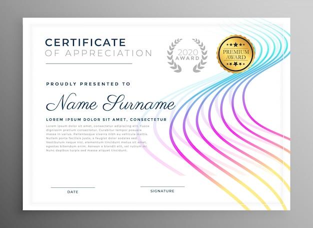Disegno astratto modello di certificato creativo Vettore gratuito