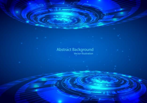 Disegno astratto tecnologia vettoriale su sfondo blu. Vettore Premium