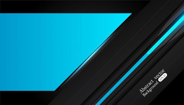 Disegno astratto telaio metallico blu nero Vettore Premium