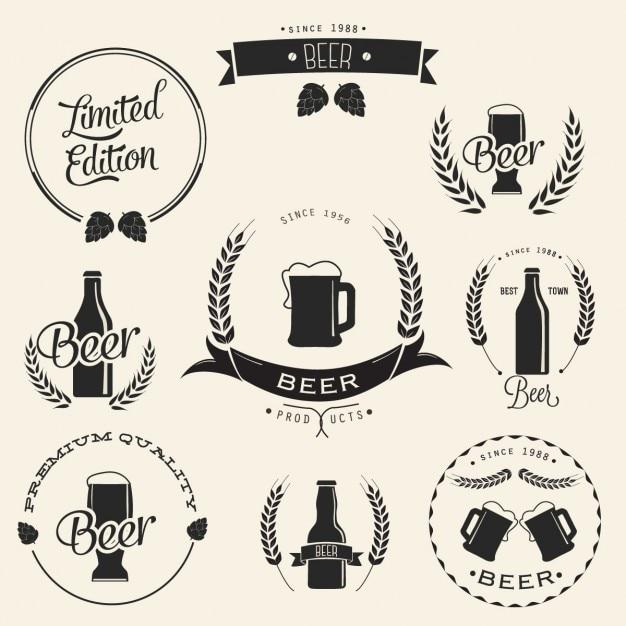 Disegno birra logo Vettore gratuito