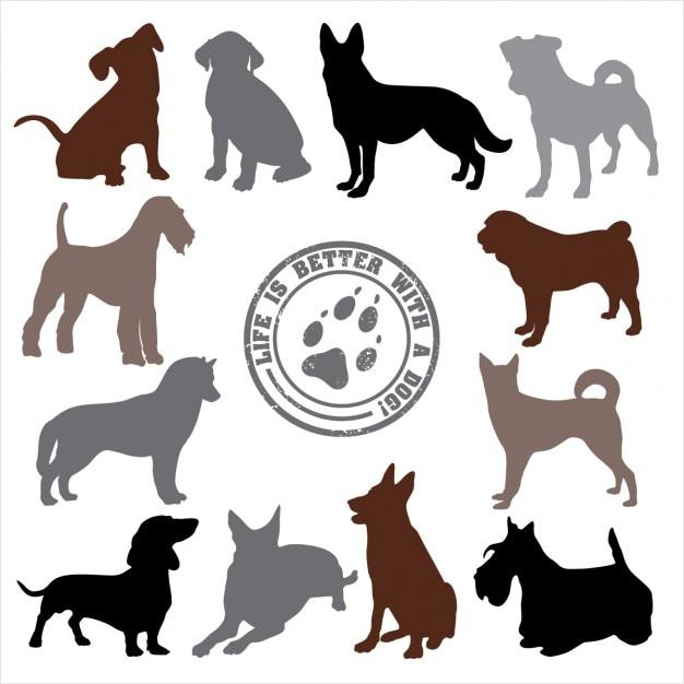 Disegno cani set Vettore gratuito