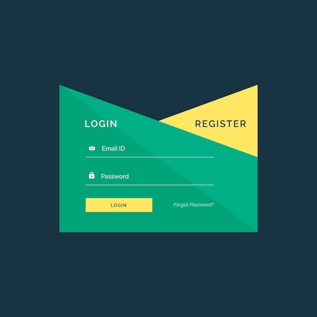 Disegno creativo di login design in stile geometrico Vettore Premium
