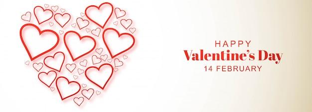 Disegno decorativo dell'insegna della carta di giorno di biglietti di s. valentino del cuore Vettore gratuito
