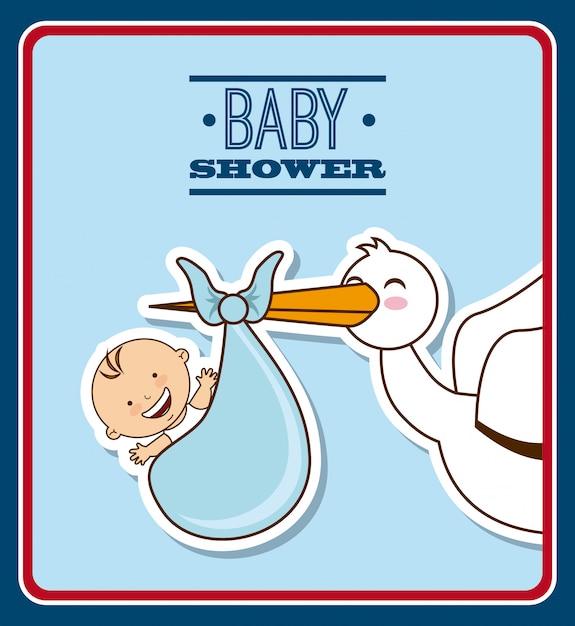 Disegno del bambino sopra illustrazione vettoriale sfondo blu Vettore Premium