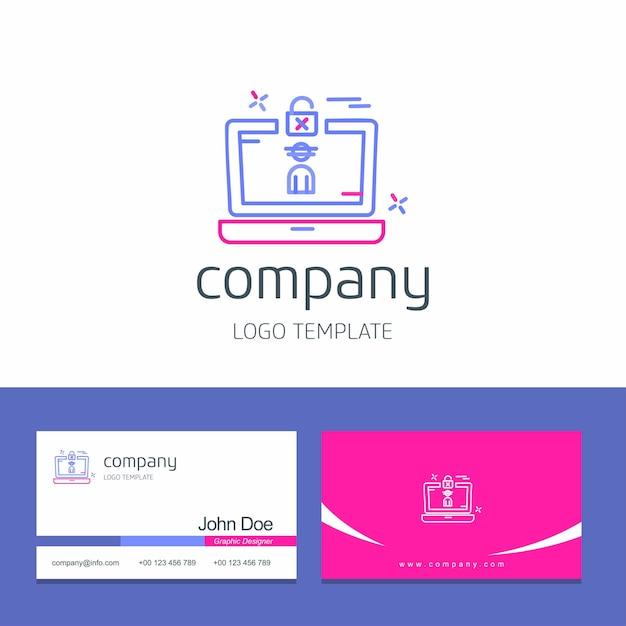 Disegno del biglietto da visita con cyber sicurezza logo design vettoriale Vettore gratuito