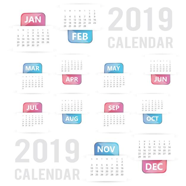 Disegno del calendario colorato vettoriale 2019 Vettore gratuito