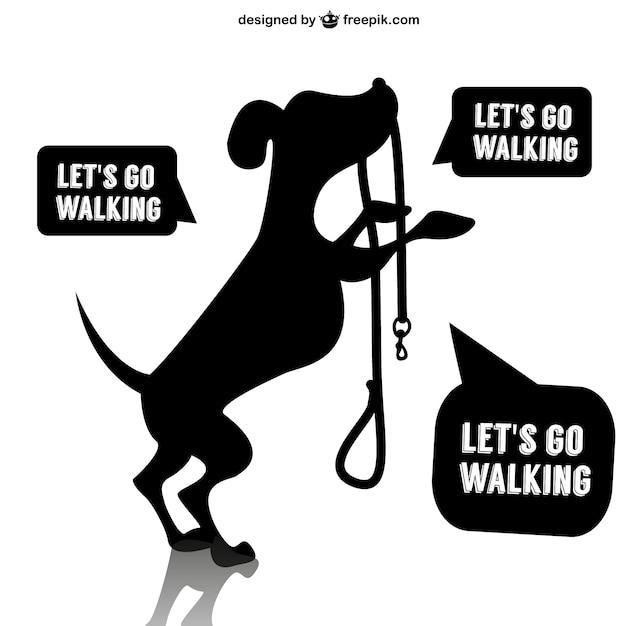 Disegno del cane a piedi vettore Vettore gratuito