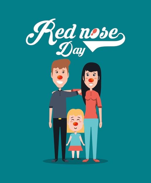 Disegno del giorno del naso rosso con la famiglia dei cartoni