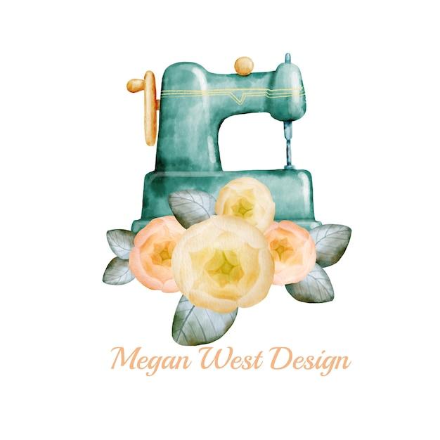 Disegno del logo cucito ad acquerello Vettore Premium