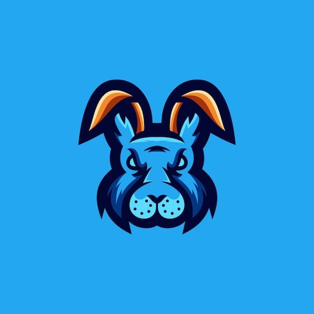Disegno del logo del coniglio Vettore Premium