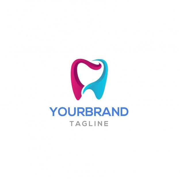 Disegno del logo del dente colorato Vettore Premium