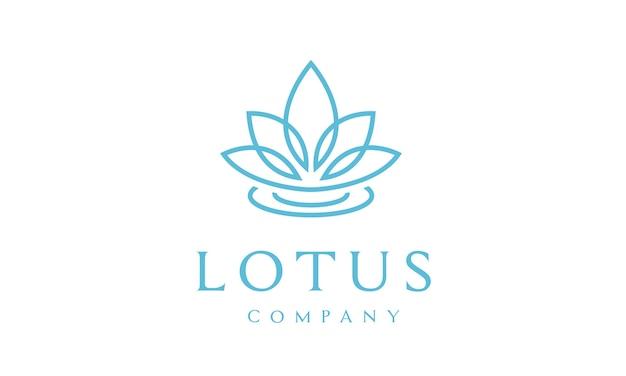 Disegno del logo del fiore di loto Vettore Premium