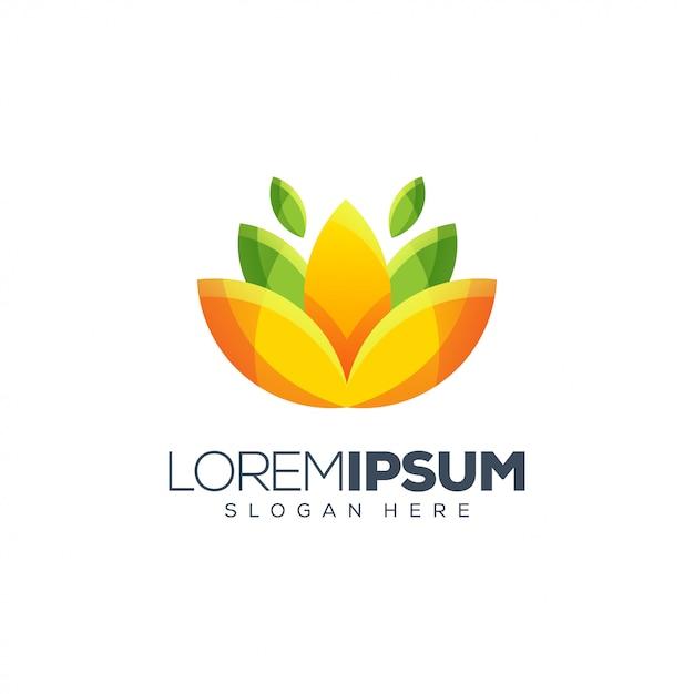 Disegno del logo del fiore Vettore Premium