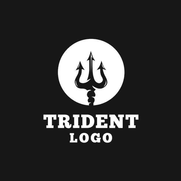 Disegno del logo del tridente circolare Vettore Premium