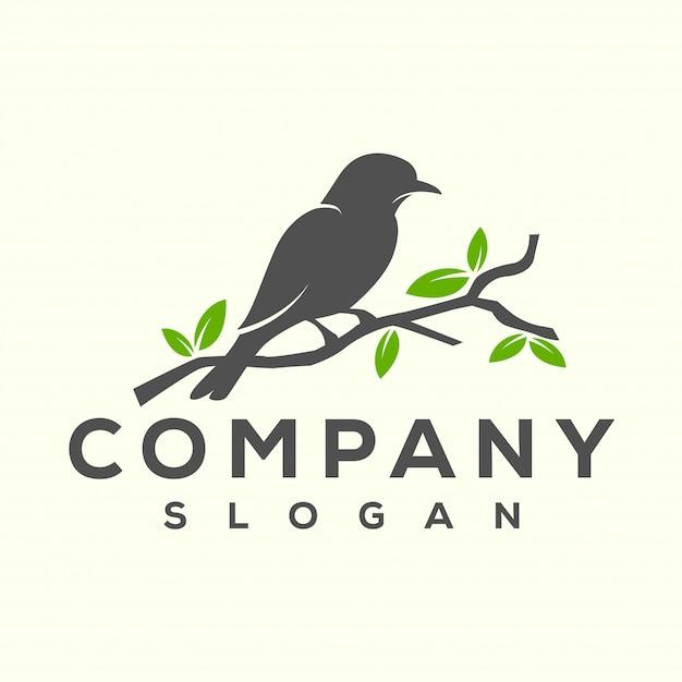 Disegno del logo dell'uccello Vettore Premium