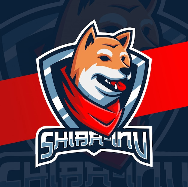 Disegno del logo di esportazione cane mascotte del giappone Vettore Premium