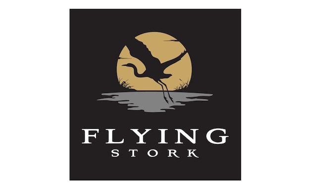 Disegno del logo di flying stork / bird sunset Vettore Premium