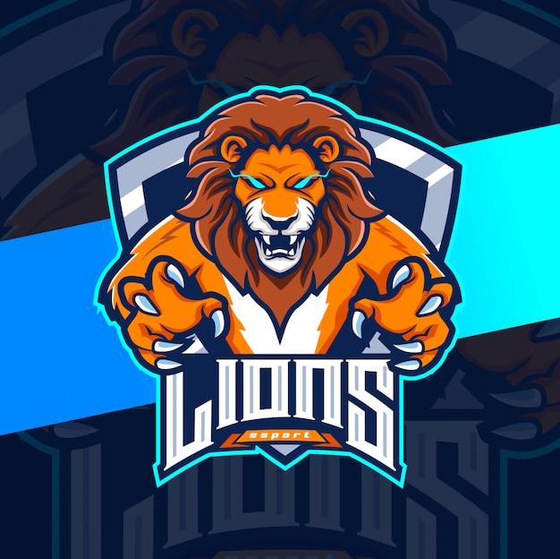 Disegno del logo esport leone mascotte Vettore Premium