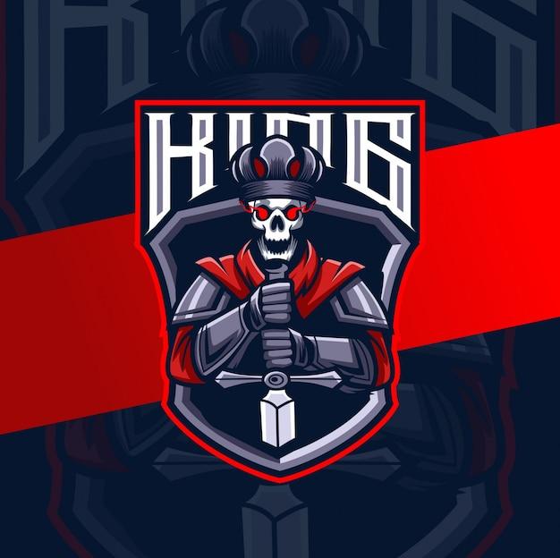 Disegno del logo esport re mascotte cavaliere oscuro Vettore Premium