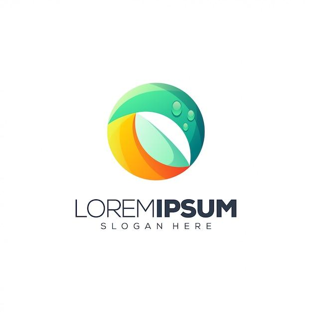 Disegno del logo foglia Vettore Premium