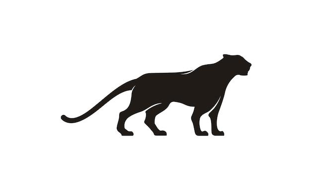 Disegno del logo jaguar / puma / lion Vettore Premium