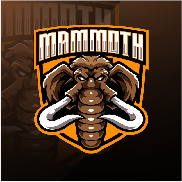Disegno del logo mascotte testa di mammut esport Vettore Premium