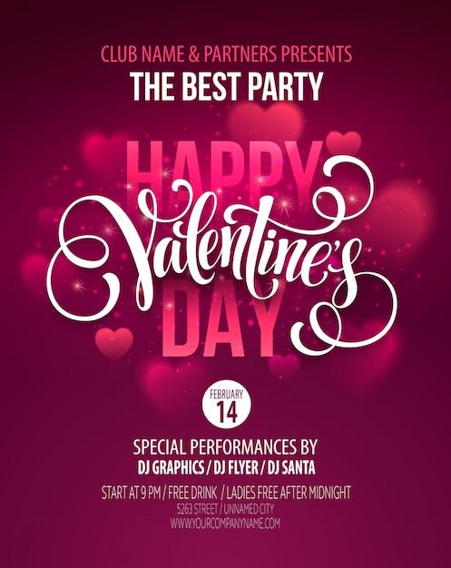 Disegno del manifesto del partito di san valentino. modello di invito, flyer, poster Vettore Premium