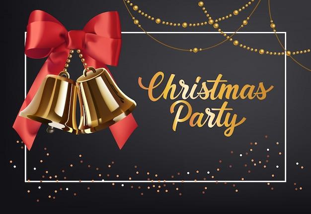 Disegno del manifesto della festa di natale. jingle in oro con fiocco rosso Vettore gratuito